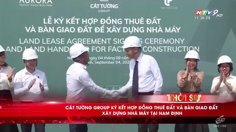HTV9: KCN Dệt May Rạng Đông - Aurora ký kết hợp đồng thuê đất và bàn giao đất xây dựng nhà máy tại Nam Định