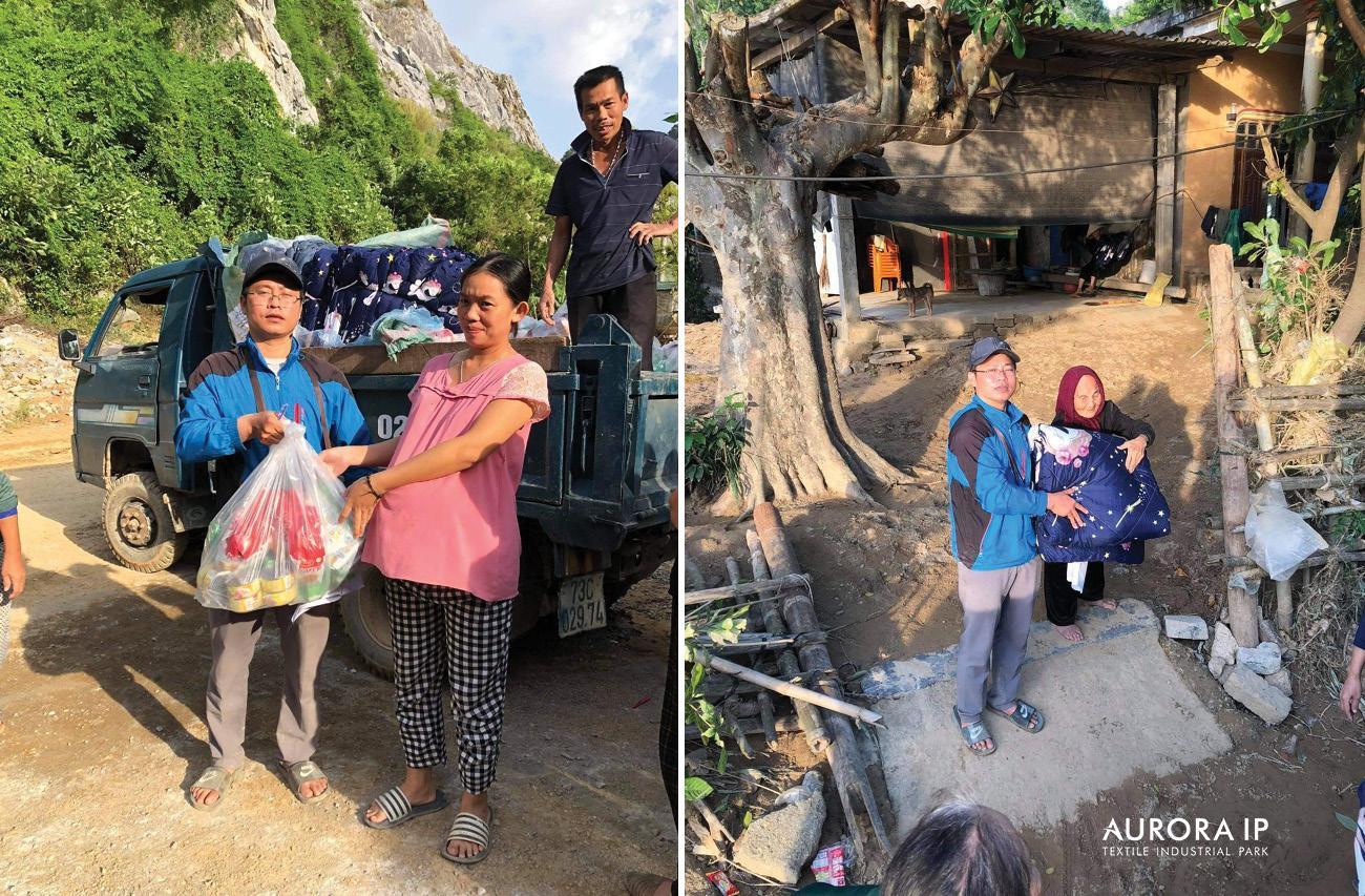 người dân Quảng Bình nhận quà từ Aurora IP