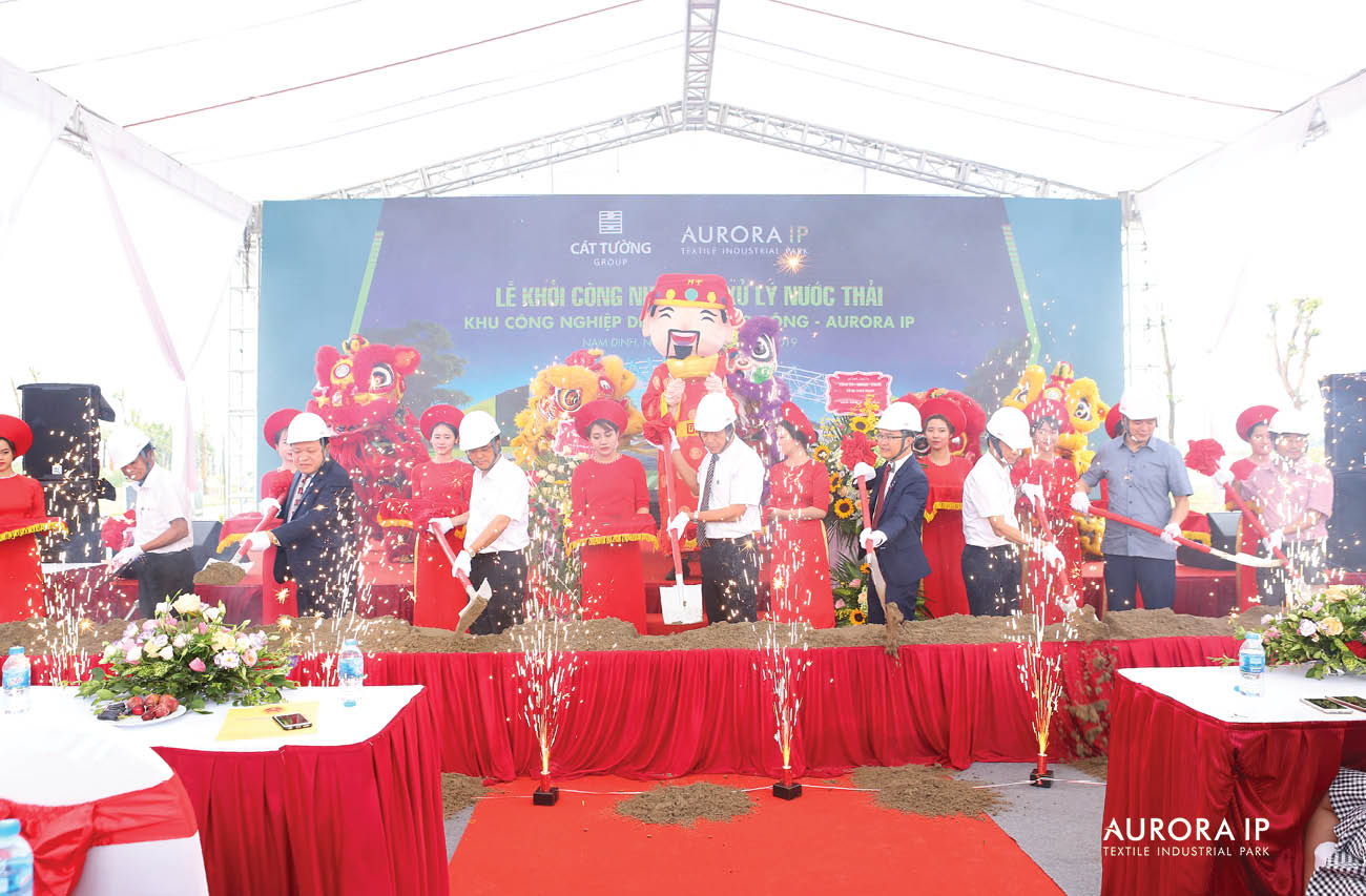 Wastewater treatment plant Ground breaking ceremony, Rang Dong Textile Industrial Park - Aurora IP